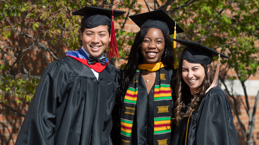 Three students prepared for Commencement 2021