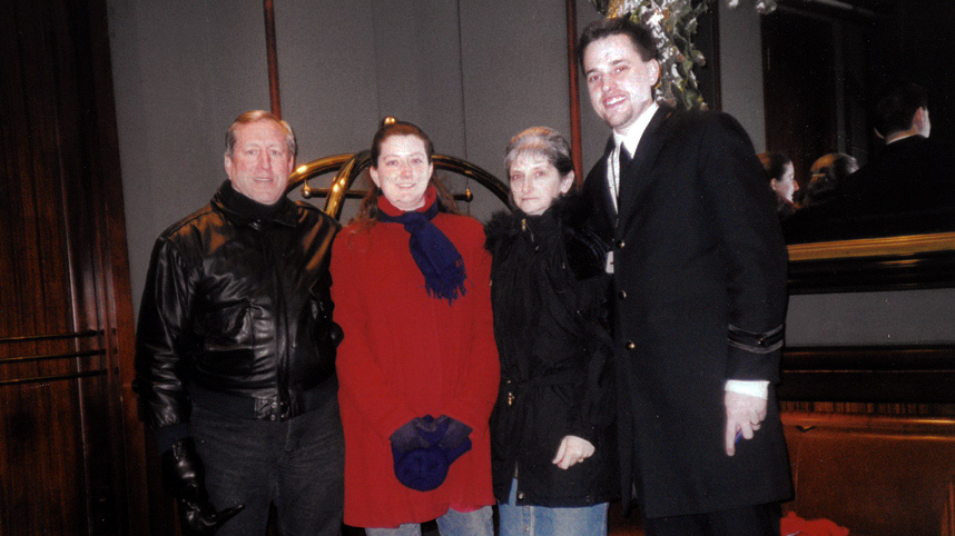 Tim Abel serving as a doorman with his wife Tammy (center in red) and her parents, Ron and Patricia Parsons