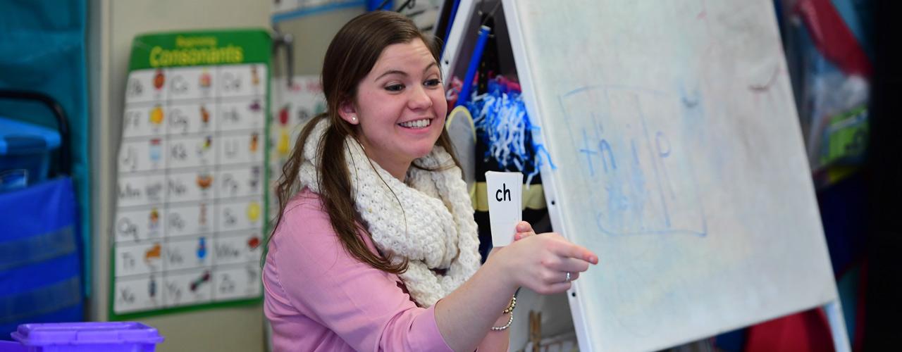 Rebekah Williams, a 2019 Cedarville University graduate, student teaches at an elementary school.