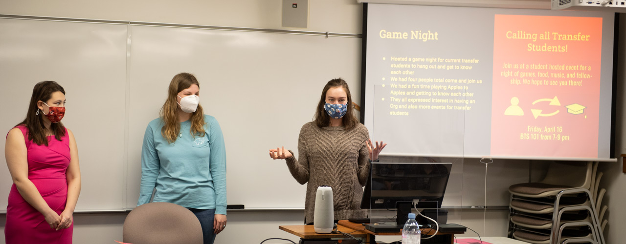 Students in career development class give a presentation