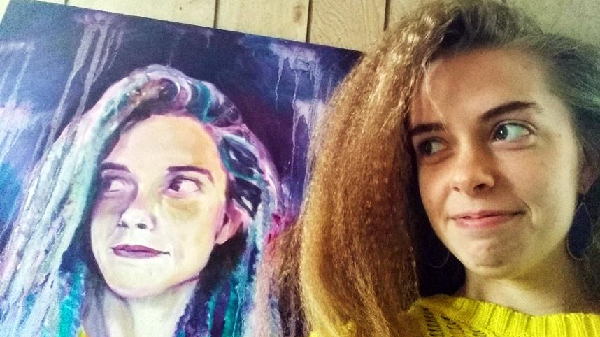 Anastasia Bisel with self-portrait