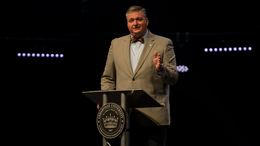 Dr. Mark Caleb Smith speaking in chapel