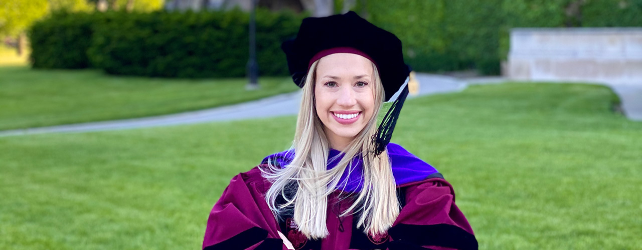 Christina Kirkpatrick Gay on graduation day from the University of Chicago School of Law