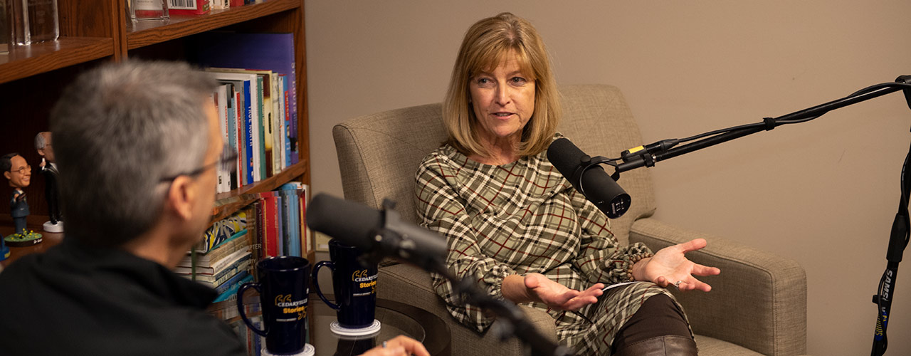 Dr. Angie Mickle during the recording of the Cedarville Stories podcast
