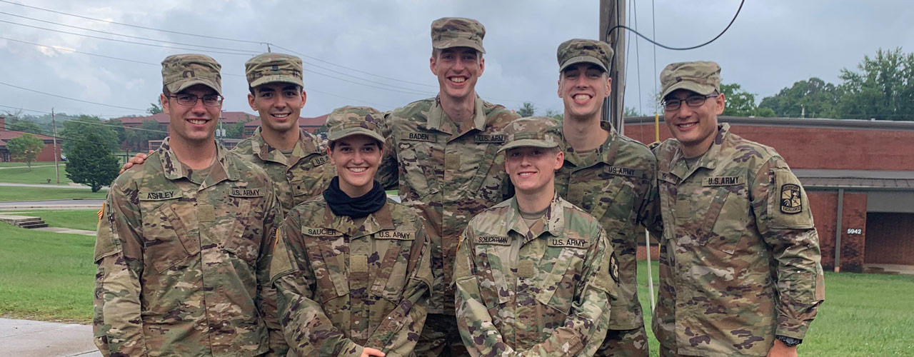 James Barber (second from left) with his ROTC unit