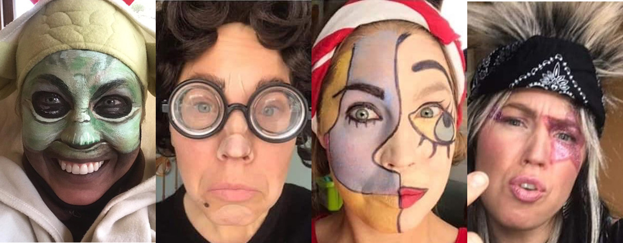 Heidi Bruder as  Yoda, a cranky teacher, a Picasso painting, and a rock star