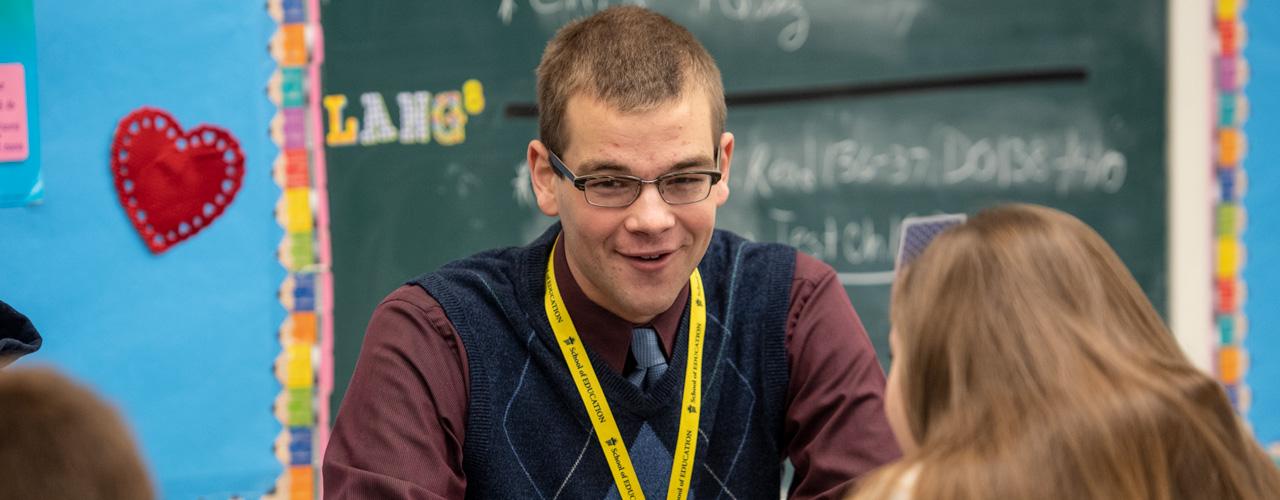 Male student teacher