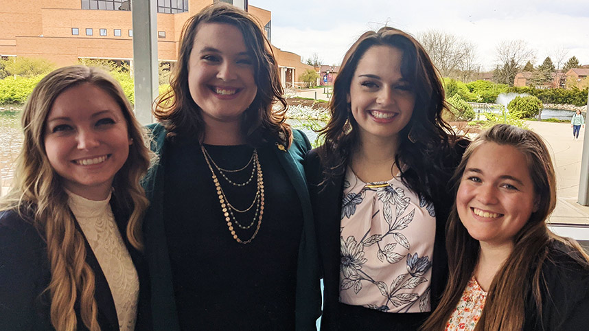 Pharmacy students Erin Ballentine, Chrissy Capo, Abby Woodard and Rachael Tollerton pose following the HQIC competition
