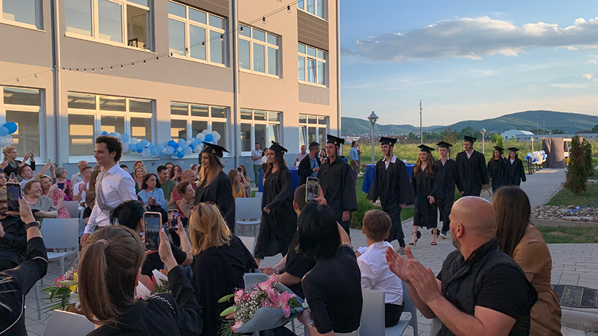 A graduation ceremony in the courtyard of the Kosovo Leadership Academy in June 2021. Photo credit: Jim Stevenson.