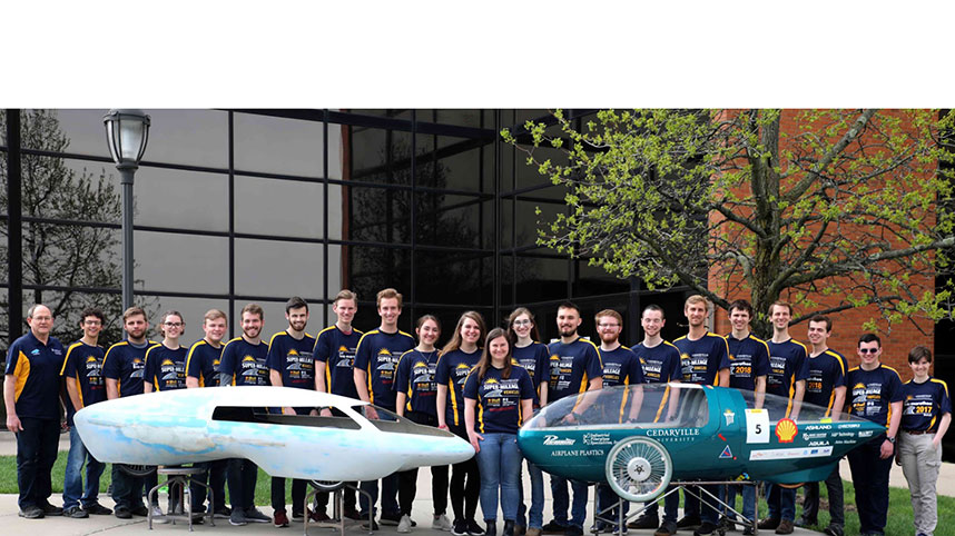 (left to right): Students Michael Winter, Lukas Knoerr, Josiah Hirschler, Madeleine Chairvolotti and Sarah Kepner delivered the oral presentation for Cedarville's 2021 SAE Supermileage team.