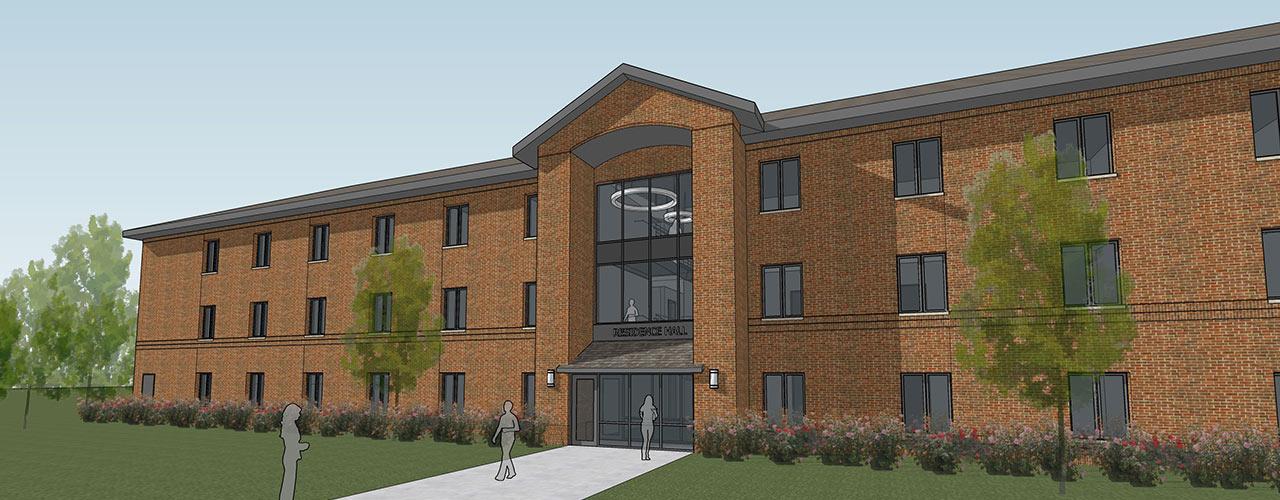 Artist's rendering of new women's residence hall slated for opening 2022