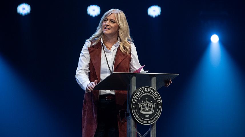 Dannah Gresh, 2021 Alumnus of the Year, speaking in chapel on September 30, 2021