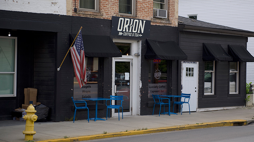 Storefront of Orion Coffee in Cedarville