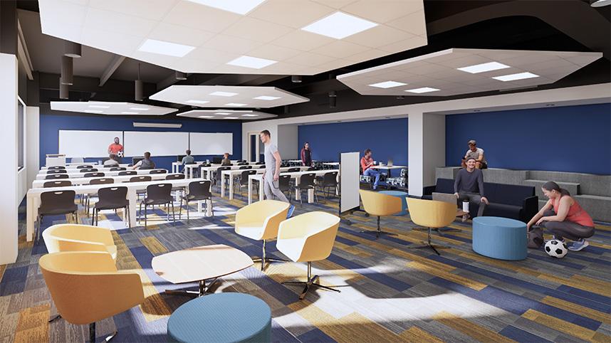 Artist's rendering of new Yellow Jackets team room