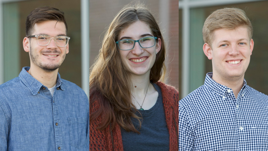 Cybersecurity senior students Aidan Graef, Madeline Chairvolotti, and Aaron Campbell
