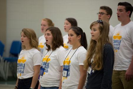 Students singing at music camp
