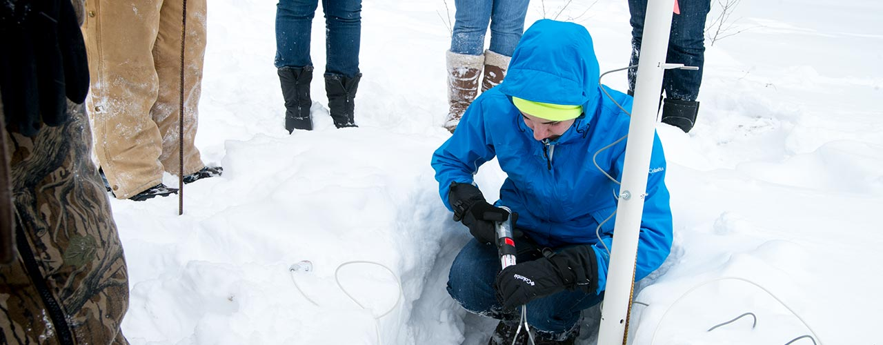 Environmental Biology students working in the snow