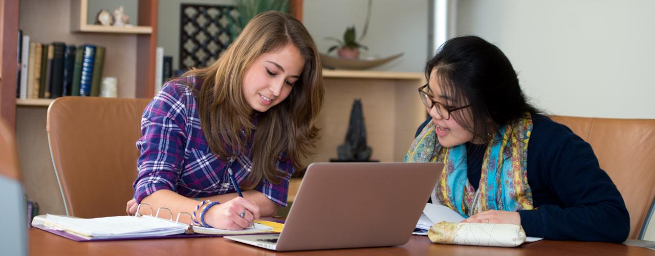 International female students studying