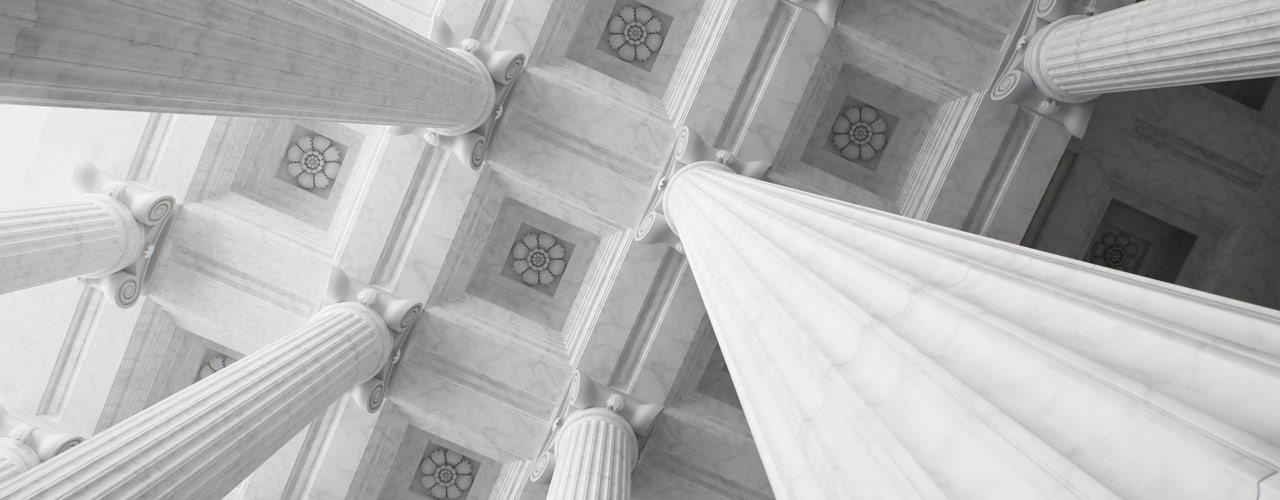 Greek columns stretch skyward
