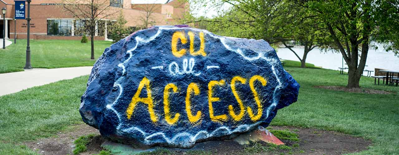 The Campus Rock painted with the words All Access
