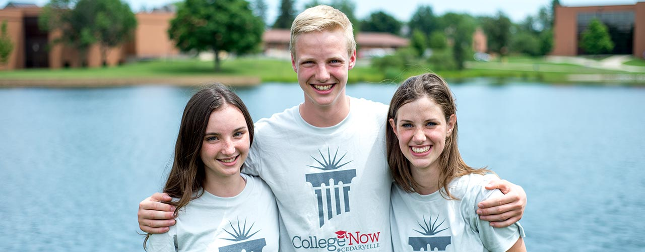 College Now students smile for a picture by Cedar Lake