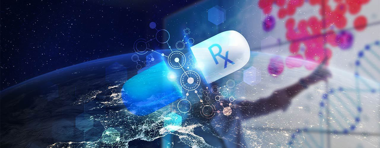 Pill in space with DNA