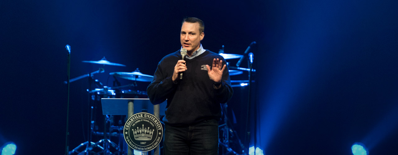 Cedarville President Dr. White addresses students in chapel