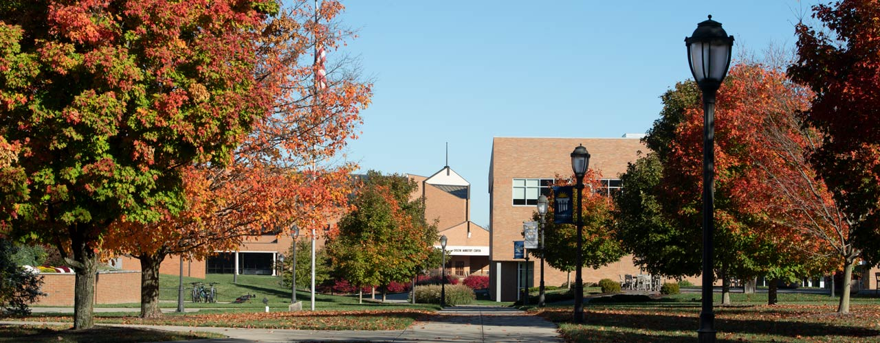Outdoor photo of campus with colored leaves on trees and buildings in the background