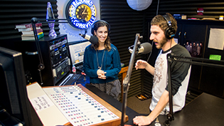 Two students host a radio show on Cedarville's student led Resound Radio