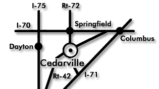 Basic map showing Cedarville's location
