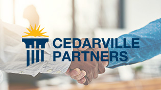 Text: Cedarville Partners,  Image: two people shaking hands
