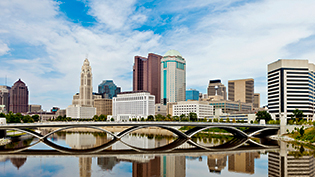 Columbus skyline along the Scioto River