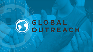 Global Outreach globe logo over image of a diverse group praying
