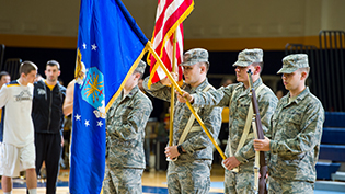 ROTC students stand at attention