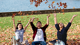 Group of students throw leaves into the air