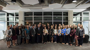 A group photo in a building at Cedarville