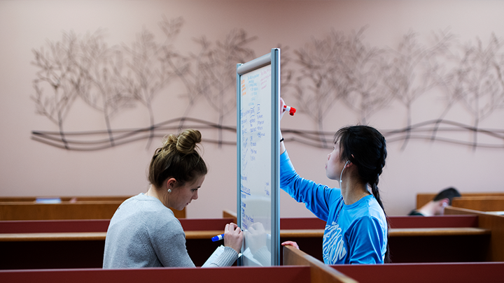 Two students using a double-sided white-board in the library