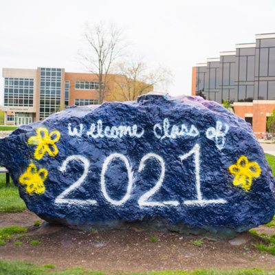 Cedarville's iconic rock is frequently painted by the students