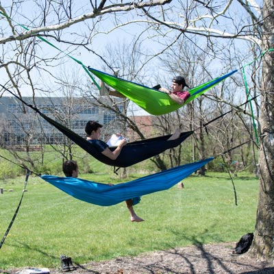 three students in hammocks reading books