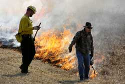 Cedarville University Alum John Murphy at a Controlled Burn