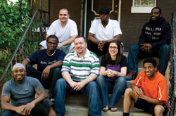 Brian and Heidy Dye with some of the young men living with them in inner city Chicago.