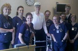 Cedarville nursing students alongside William, a WWII veteran they befriended.