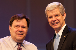 Dr. Wes Baker received the Dr. Allen Monroe Integration of Faith and Learning Award during the Cedarville University Faculty Recognition Chapel.