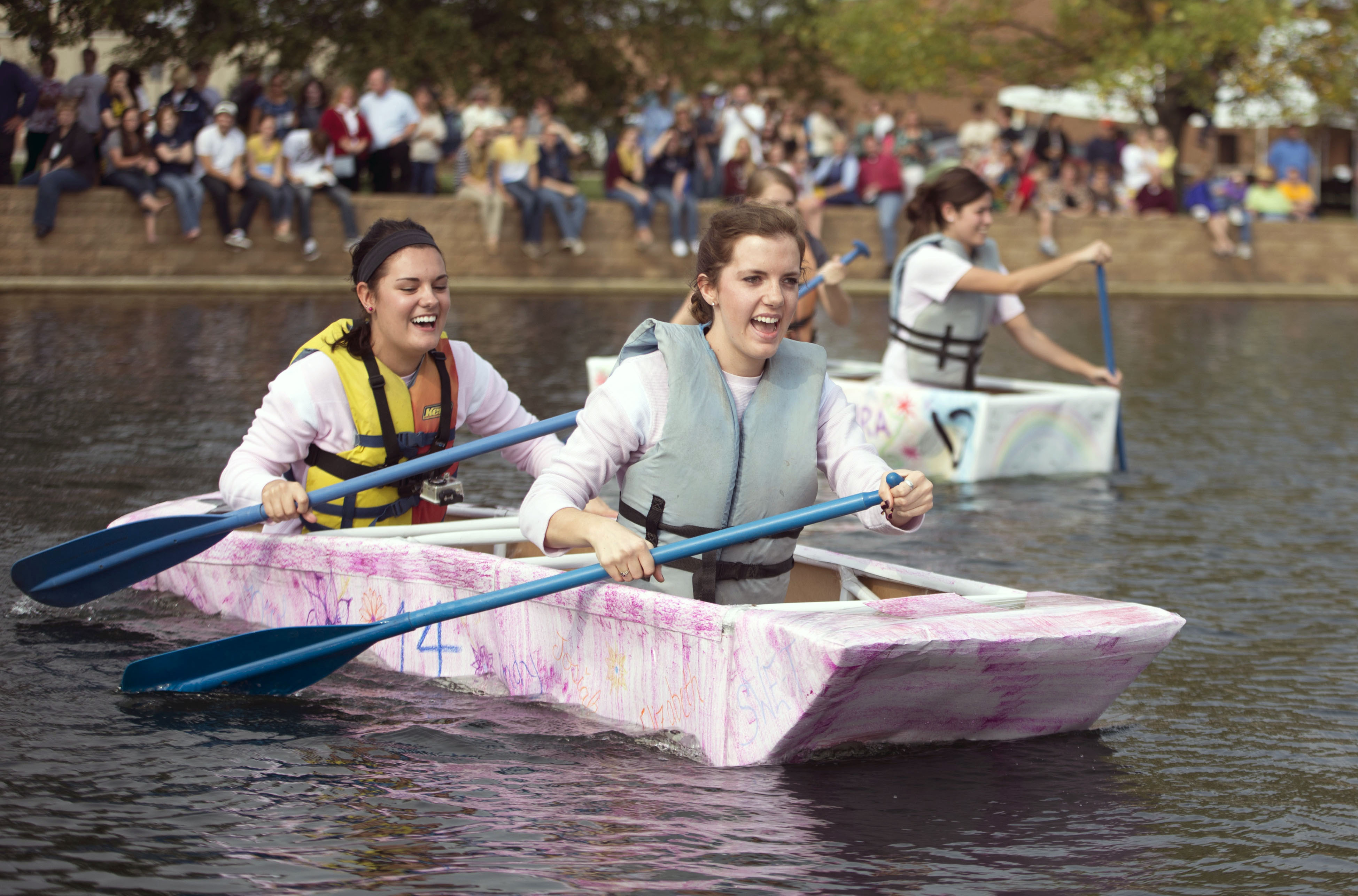The traditional cardboard canoe race across Cedar Lake will take place again this year on October 4. Photo credit: Scott L. Huck/Cedarville University