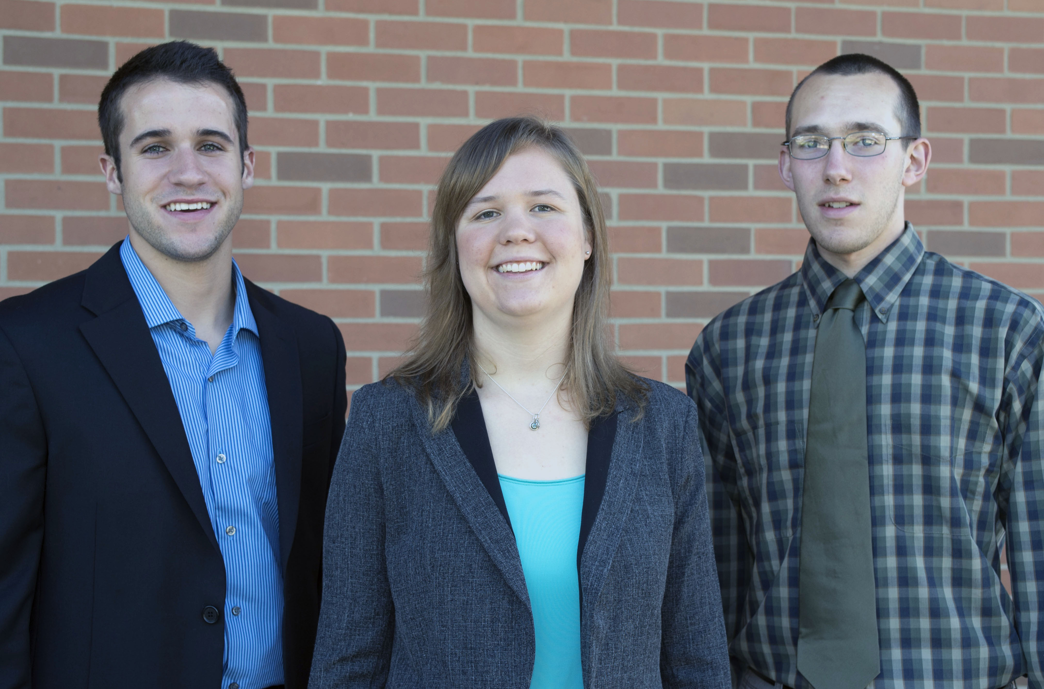 Sirois, Amling, and McKevitt, pictured here, each received a scholarship from the Ohio Space Grant Consortium this year. Not pictured: Krueger, a senior scholarship recipient who is studying abroad this semester.