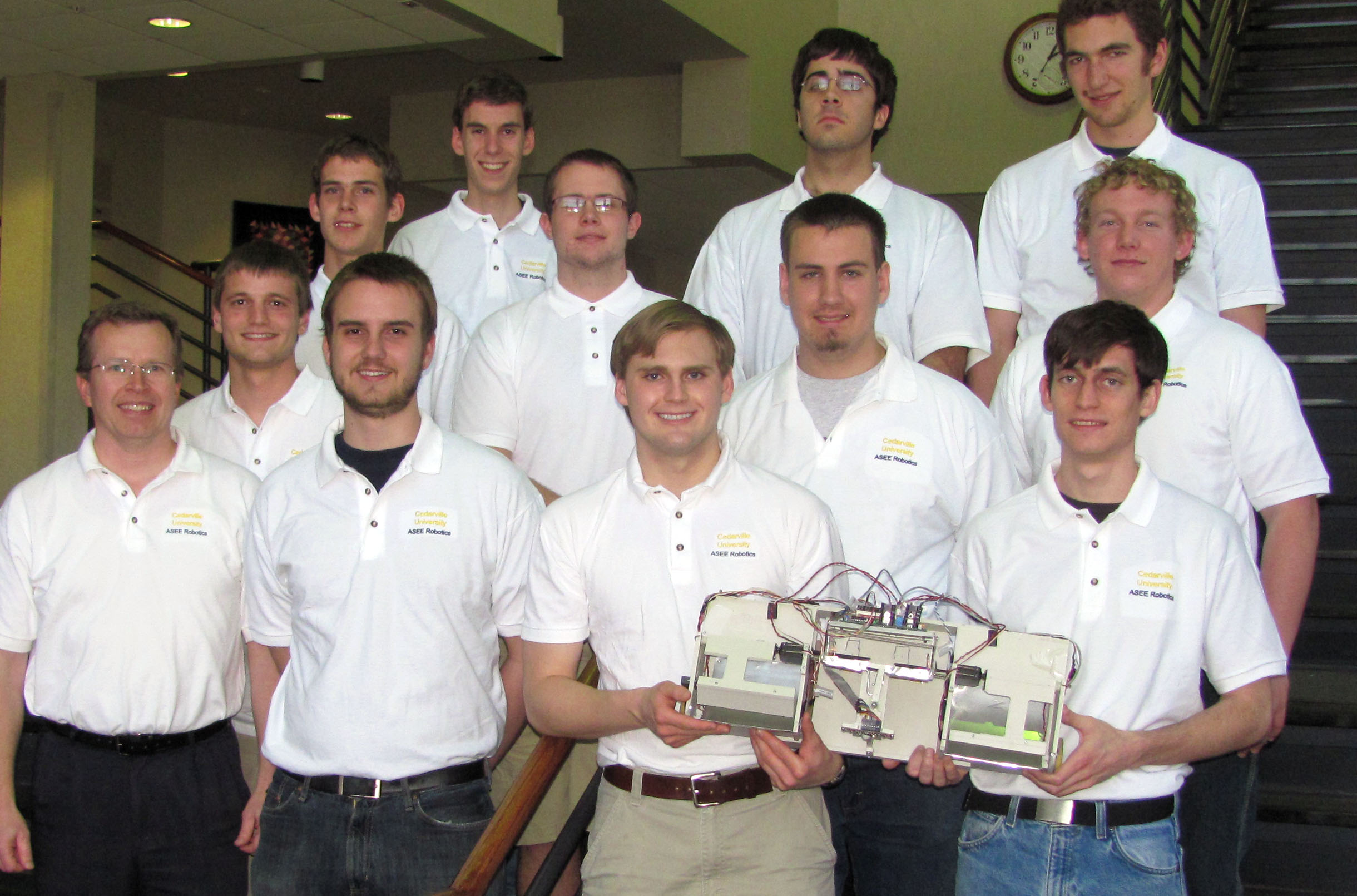 Cedarville's team of engineering students won first place at the American Society of Engineering Education (ASEE) Autonomous Robotics Competition. Photo courtesy of Sue Helmick.