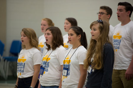 Students singing at music camp
