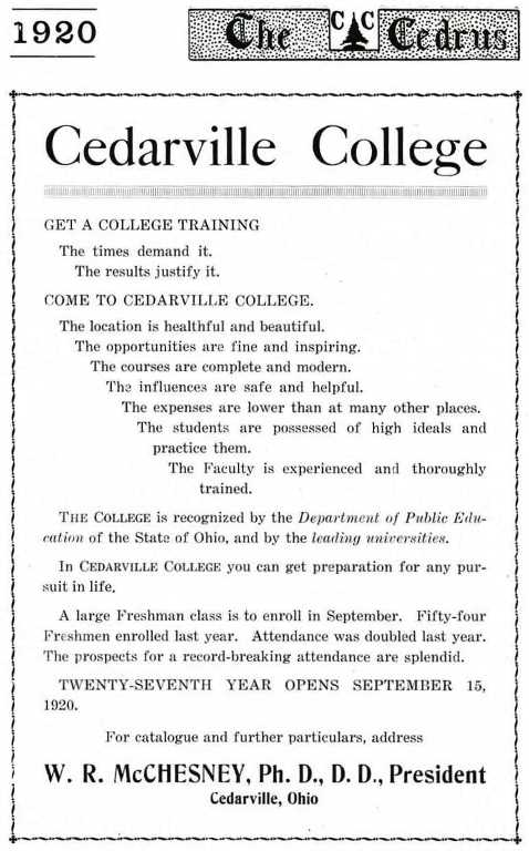 1920 Cedarville College yearbook ad