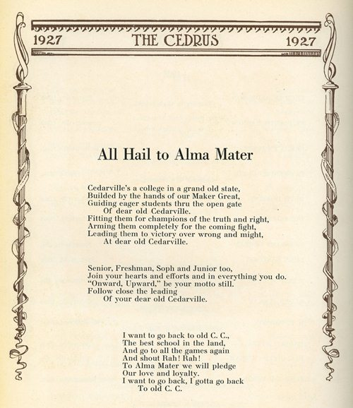 1927 Cedarville College song