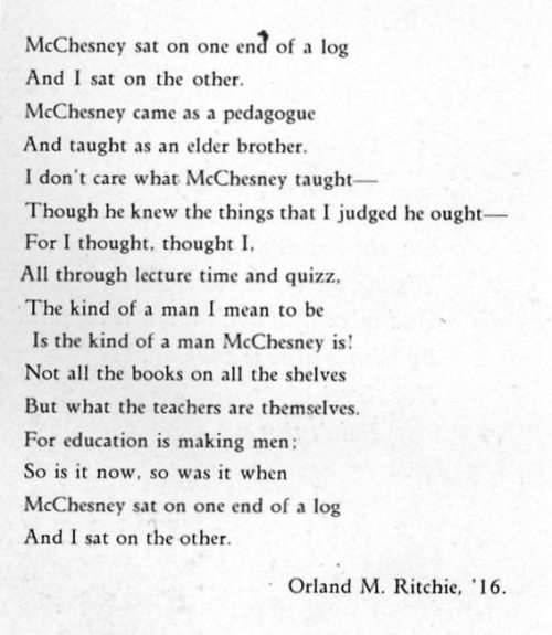 1930 alumni poem at Cedarville College